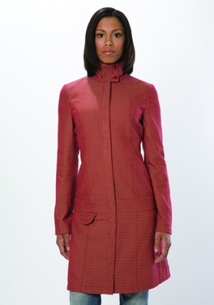 Herringbone Drop Waist Jacket - Garnet :  jacket eco herringbone drop waist